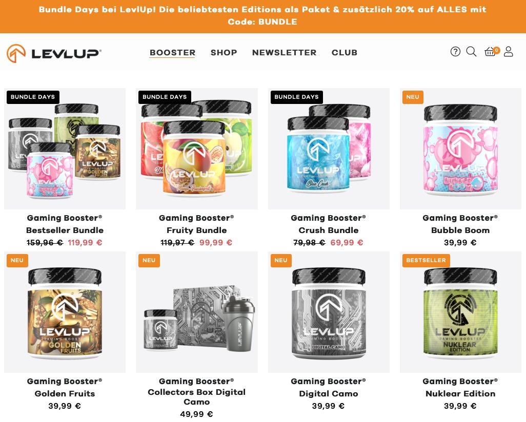 LevlUp Gaming Booster Rabatt Februar 2021