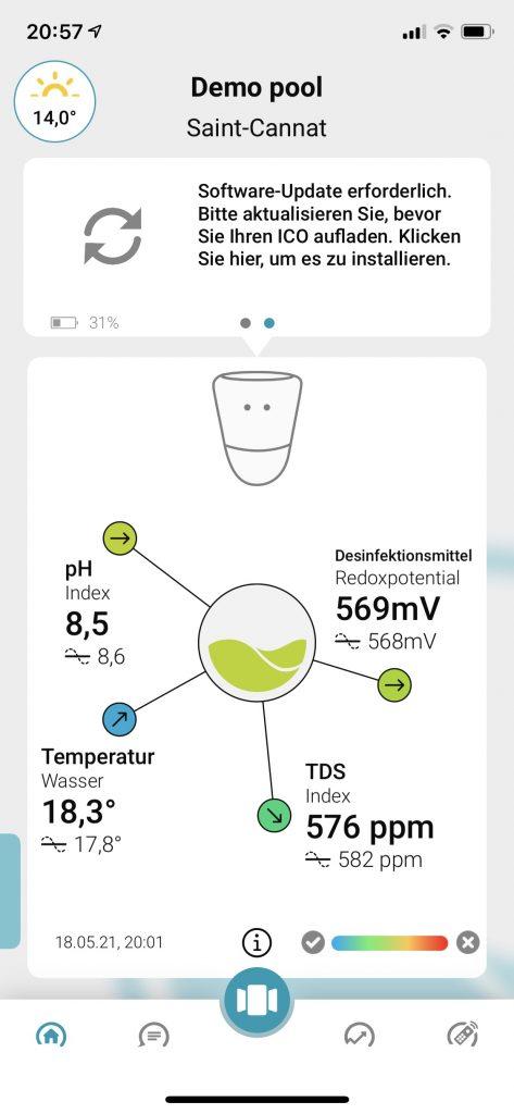ICO Ondilo Pool Messwerte App