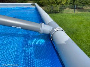 Konstruktion Rohre Abdeckplane Pool Winter Regen Ablauf